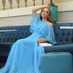Vintage 1960's Powder Blue Pleated Chiffon Gown